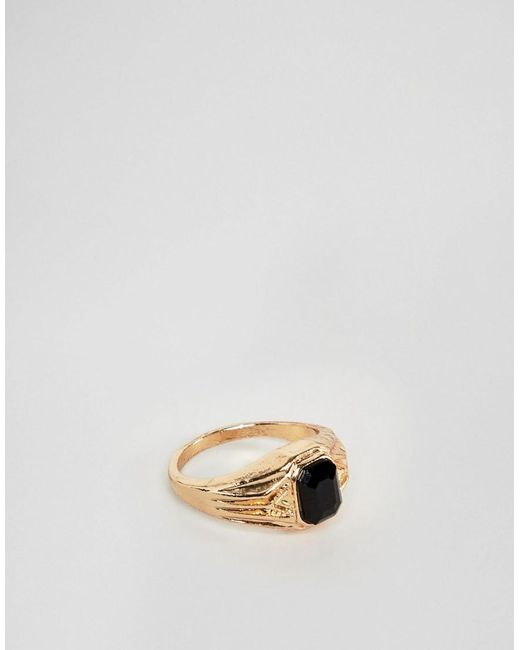 ASOS DESIGN - Metallic Vintage Style Signet Ring In Gold Tone With Black Stone for Men - Lyst
