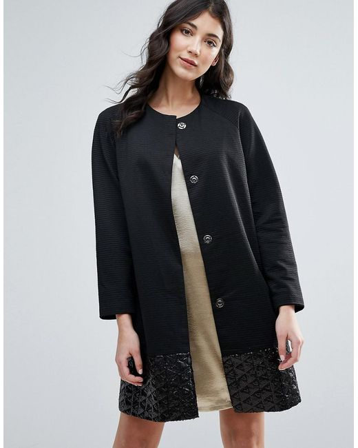 Traffic People | Black Straight Coat With Jacquard Hem | Lyst