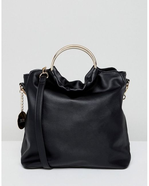Faith - Black Slouch Tote Bag With Circle Handle - Lyst