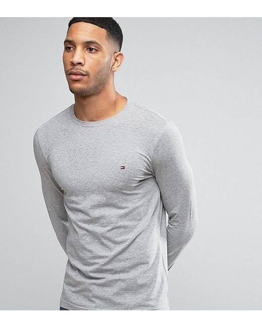 b74f3feb Tommy Hilfiger - Gray Long Sleeve Top Flag Logo In Grey Heather Exclusive  At Asos for ...