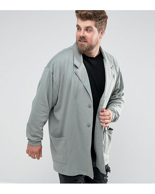 ASOS DESIGN - Asos Plus Oversized Super Longline Jersey Duster Coat In Green for Men - Lyst