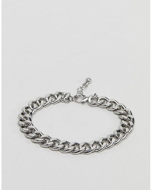 ASOS - Metallic Midweight Chain Bracelet In Silver Tone for Men - Lyst