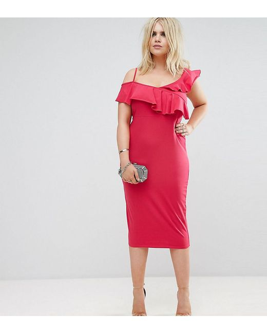 ASOS | Pink Ruffle Asymmetric Bodycon Dress | Lyst