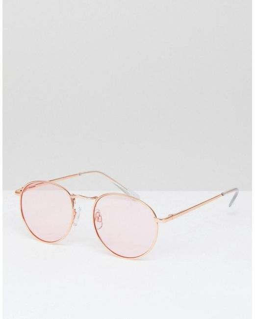 bc7894f1fbfa ASOS - 90s Round Fashion Sunglasses In Pink Metal With Pink Lens - Lyst ...