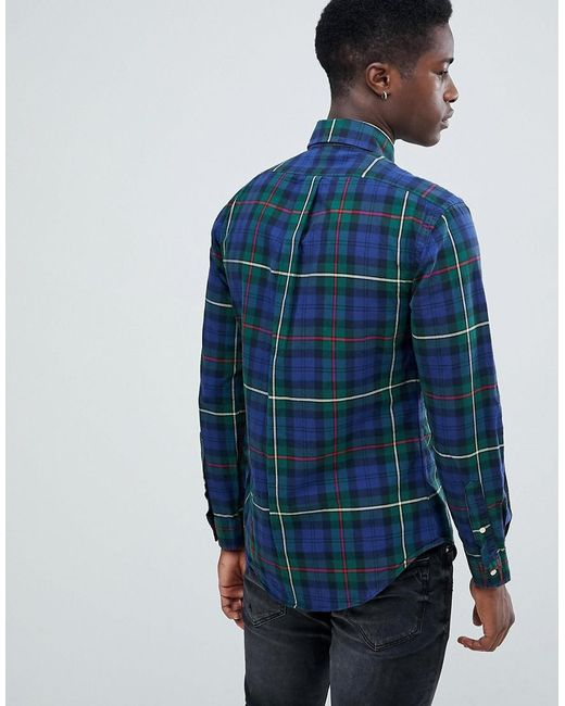73e5a1377 ... Polo Ralph Lauren - Blue Slim Fit Tartan Check Oxford Shirt Player Logo  Button Down In