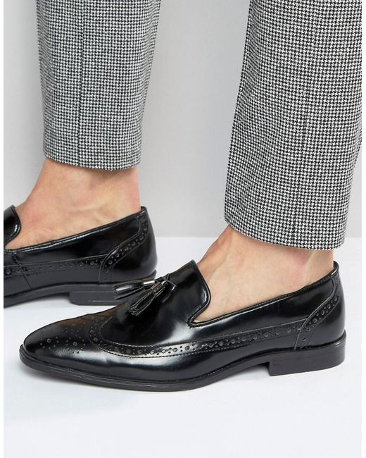 ASOS | Brogue Loafers In Black Leather With Tassel for Men | Lyst