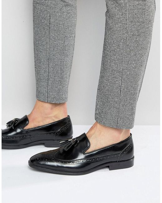 ASOS - Asos Brogue Loafers In Black Leather With Tassel for Men - Lyst