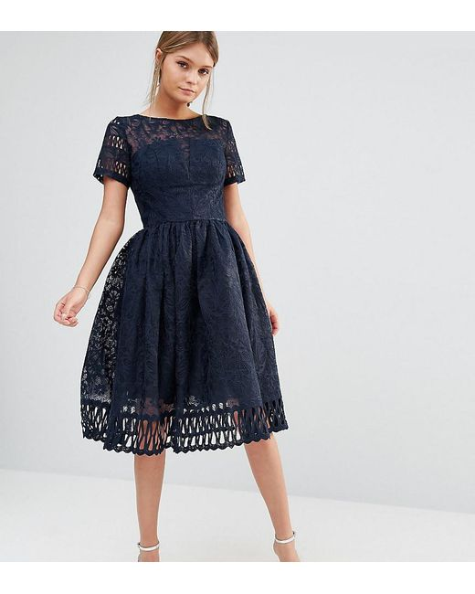 668512360e Chi Chi London - Blue Premium Lace Dress With Cutwork Detail And Cap Sleeve  In Navy ...