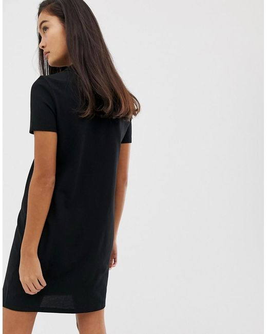 65c3fcffc33 Lacoste Live Motif Logo Polo Shirt Dress in Black - Lyst