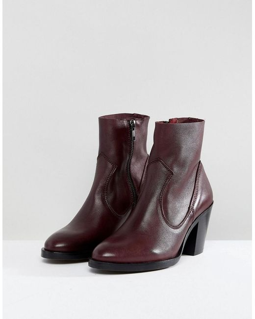 Office Red Angie Burgundy Heeled Ankle Boots Lyst