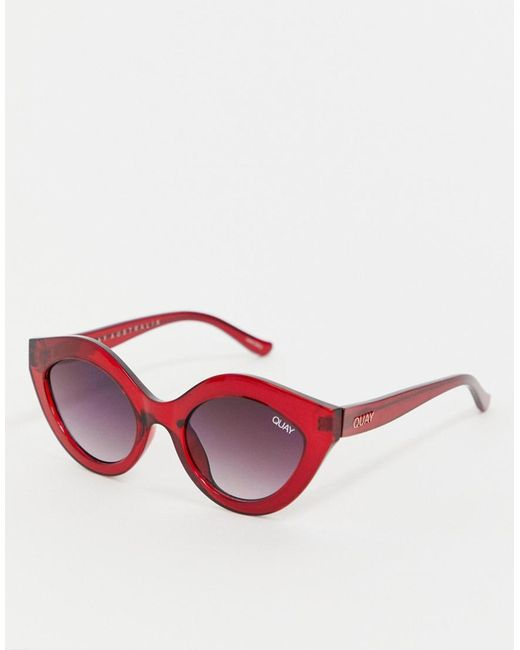 Quay - Goodnight Kiss Cat Eye Sunglasses In Red for Men - Lyst