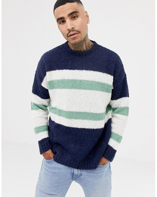 ASOS DESIGN - Blue Asos Knitted Jumper With Blocked Stripes In Navy for Men - Lyst