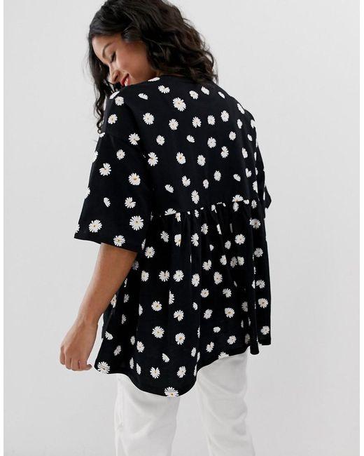 ad0d2dd35041b ... ASOS - Black Asos Design Maternity Smock Top In Ditsy Print - Lyst