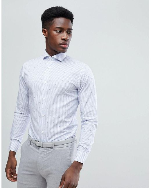 SELECTED - Blue Slim Fit Smart Shirt With All Over Stripe Print for Men - Lyst