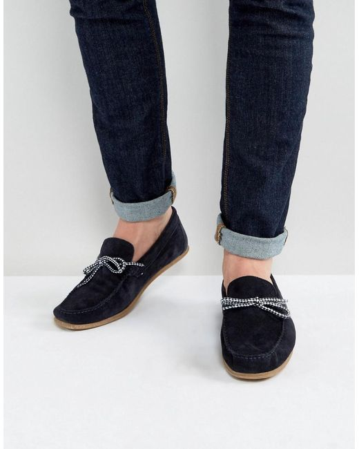 ASOS | Blue Driving Shoes In Navy Suede With Contrast Lace for Men | Lyst