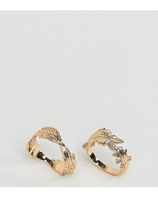 ASOS - Metallic Asos Design Curve Pack Of 2 Rings With Leaf Design In Gold - Lyst