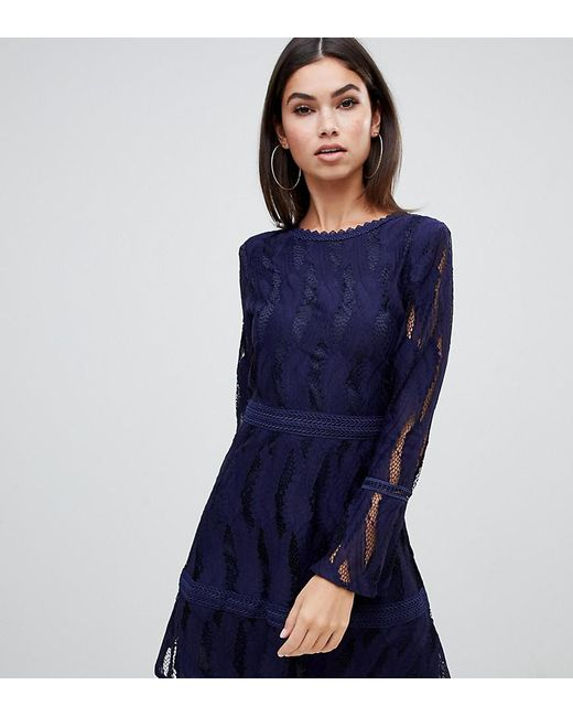 fa2a1ac0e0ef4 Boohoo - Blue Exclusive Flare Sleeve Lace Dress In Navy - Lyst ...