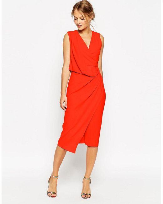 ASOS | Wedding Wrap Drape Midi Dress - Red | Lyst