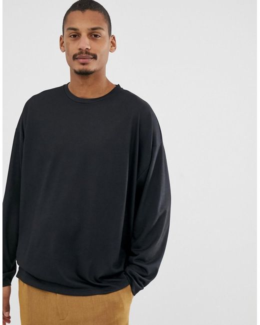 f64e94ce ... ASOS - Black Oversized Fit Long Sleeve T-shirt With Sun And Cherub Back  Print