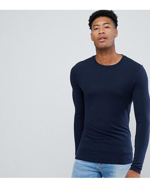 8029283b ASOS - Blue Tall Muscle Fit Long Sleeve T-shirt With Crew Neck In Navy ...