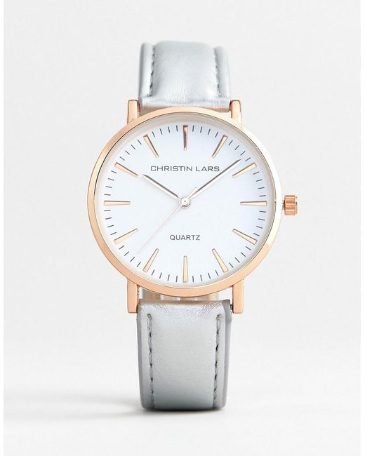 Christin Lars - Metallic Watch With Gold Case And Silver Strap for Men - Lyst