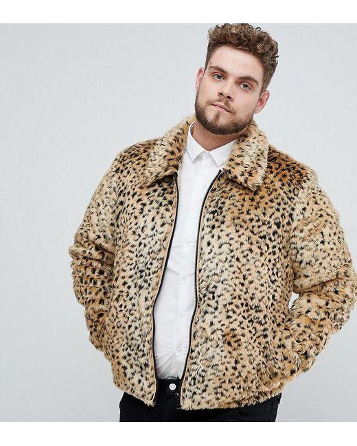 852c9257d3 ASOS - Brown Plus Faux Fur Western Jacket In Leopard Print for Men - Lyst  ...