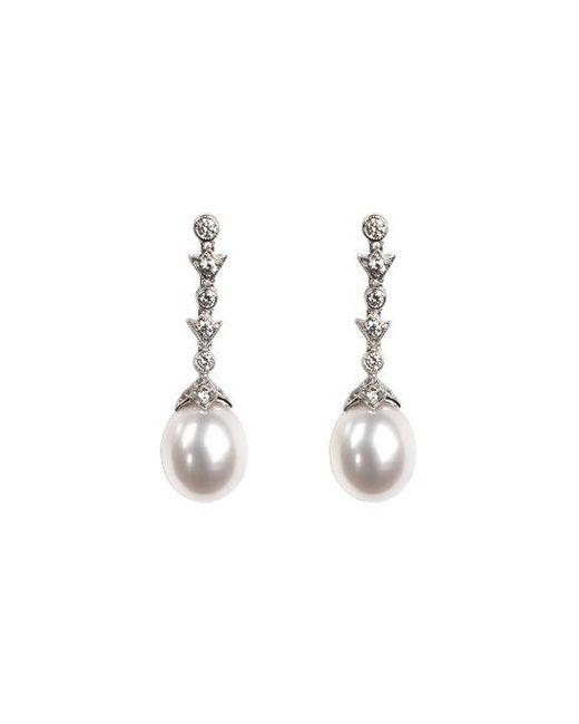 Aspinal - Metallic Victoriana Diamond & Pearl Drop Earrings - Lyst