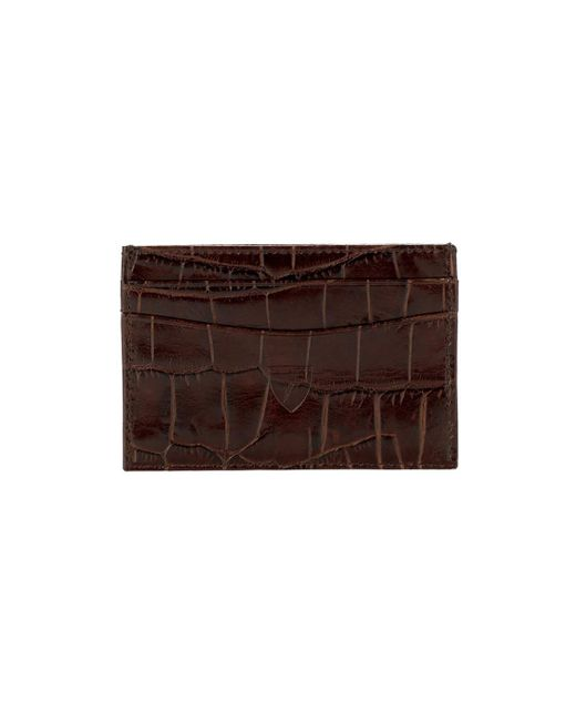 Aspinal Handmade Credit Card Case In Amazon Brown Croc & Stone