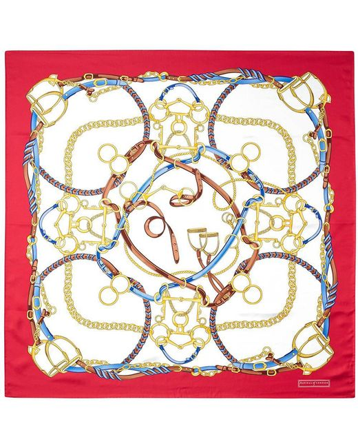 Aspinal - Red The Horseshoe Silk Scarf - Lyst