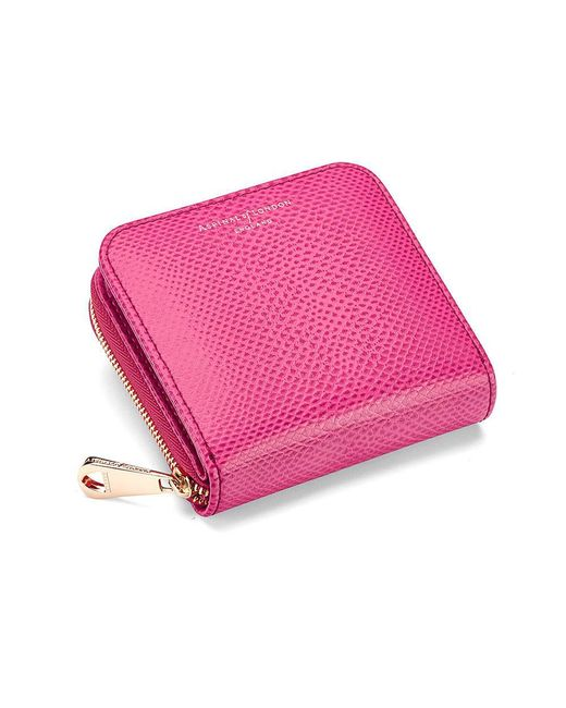 Aspinal - Pink Mini Continental Zipped Coin Purse - Lyst