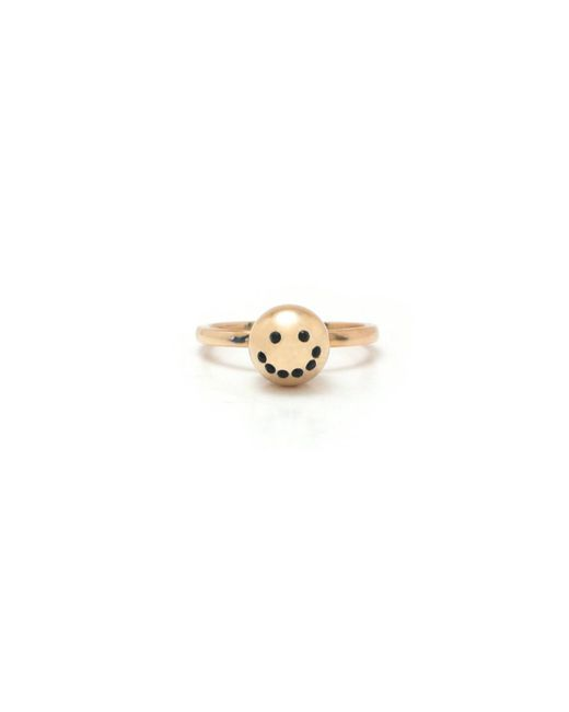Nektar De Stagni | Metallic Gold/zircon Stone Smiley Emoticon Ring | Lyst