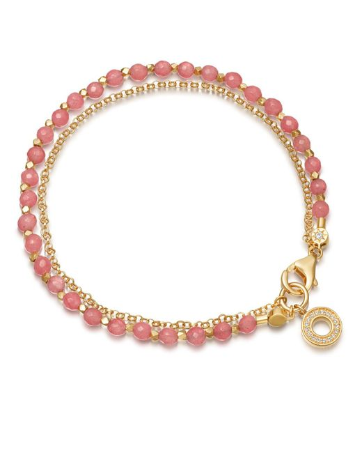 Astley Clarke - Pink Rose Quartzite Mini Halo Biography Bracelet - Lyst