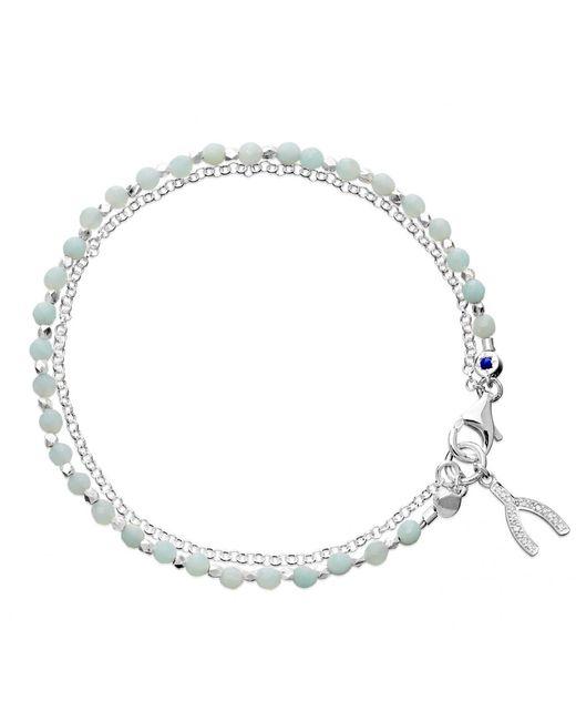 Astley Clarke | Metallic Wishbone Sterling Silver Amazonite Friendship Bracelet | Lyst