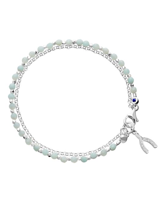 Astley Clarke | Metallic Wishbone Sterling Silver Amazonite Friendship Bracelet | Lyst