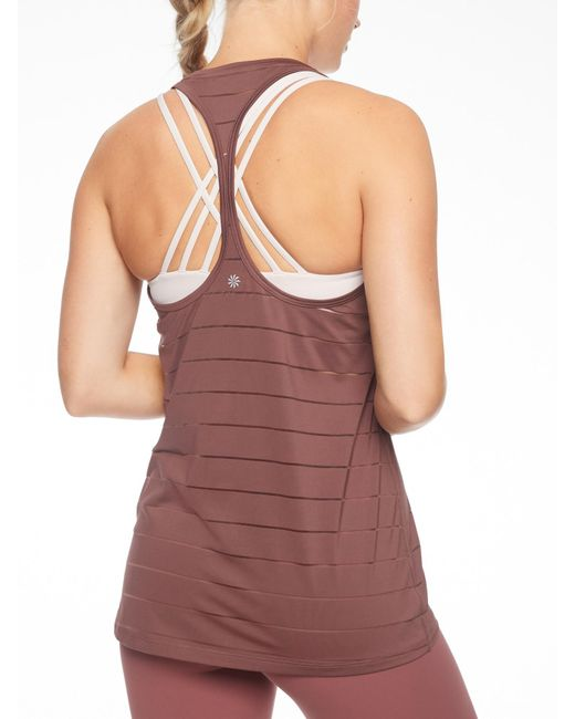 Athleta - Brown Stripe Mesh High Neck Chi Tank - Lyst