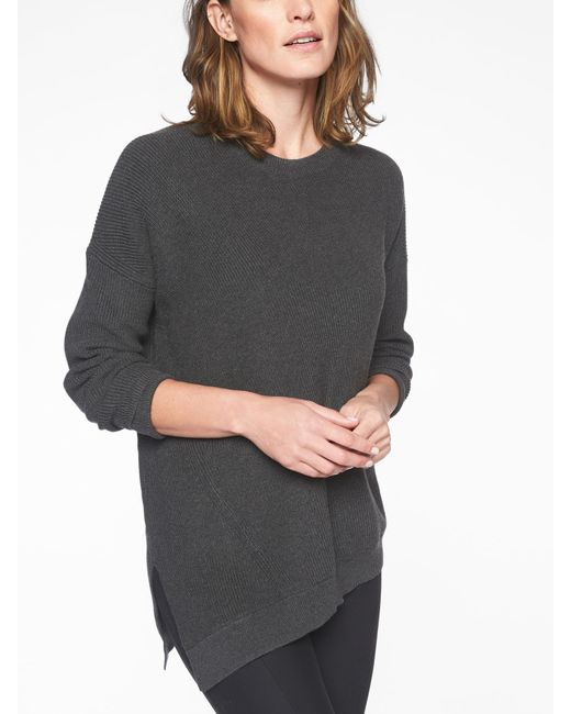Athleta - Gray Rest Day Asym Crewneck Sweater - Lyst