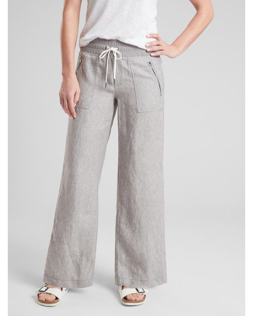 891c07dbe Athleta Cabo Linen Wide Leg Pant in Gray - Lyst
