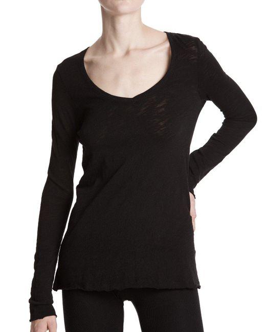 ATM - Black Slub Jersey Long Sleeve V-neck Tee - Lyst