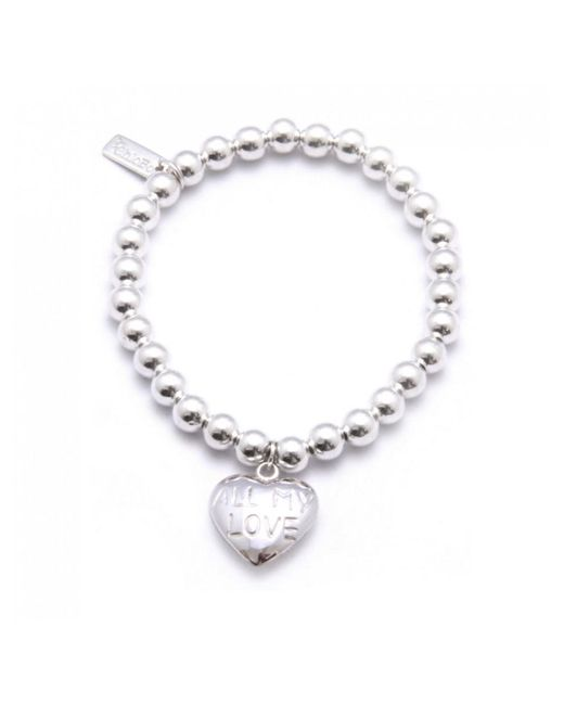 ChloBo - Metallic Small Ball Bracelet With All My Love Heart Charm - Lyst