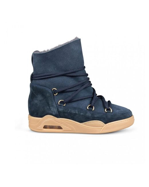 Serafini - Moon Boots Suede Navy Blue - Lyst