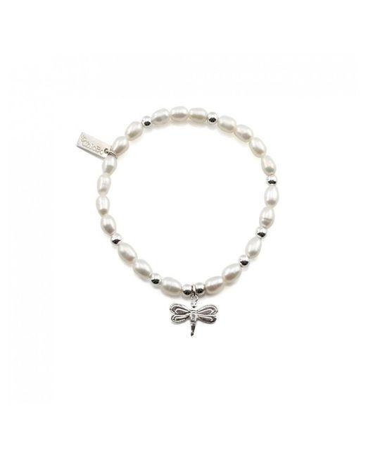 ChloBo - Metallic Mini Pearl Bracelet With Dragonfly Charm - Lyst
