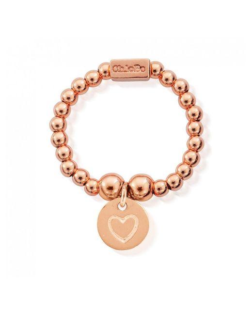 ChloBo - Metallic Mini Ball Ring With Heart In Circle - Lyst