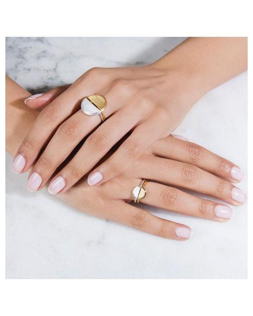 Rachel Jackson Metallic Mini Half Moon Gold Adjustable Ring