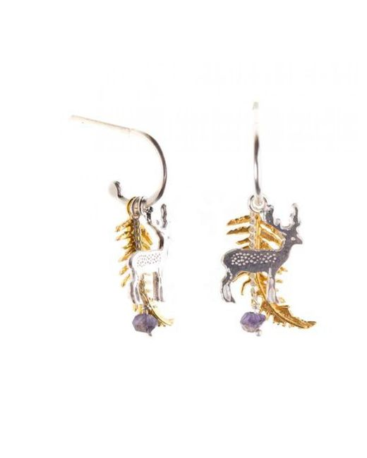 Amanda Coleman - Metallic Fern And Stag Earrings On A Half Loop - Lyst
