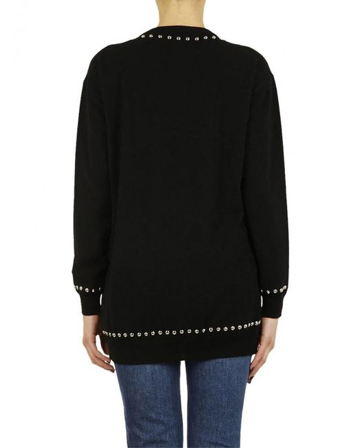 Moschino - Black Studded Logo Sweater - Lyst