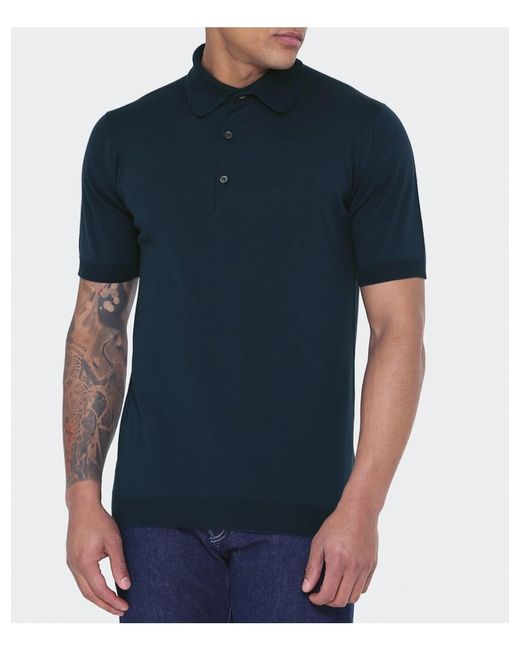 John Smedley - Blue Adrian Polo Shirt for Men - Lyst