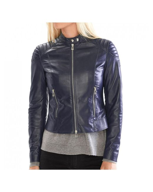 Belstaff - Blue Ladies Mollison Leather Jacket - Lyst