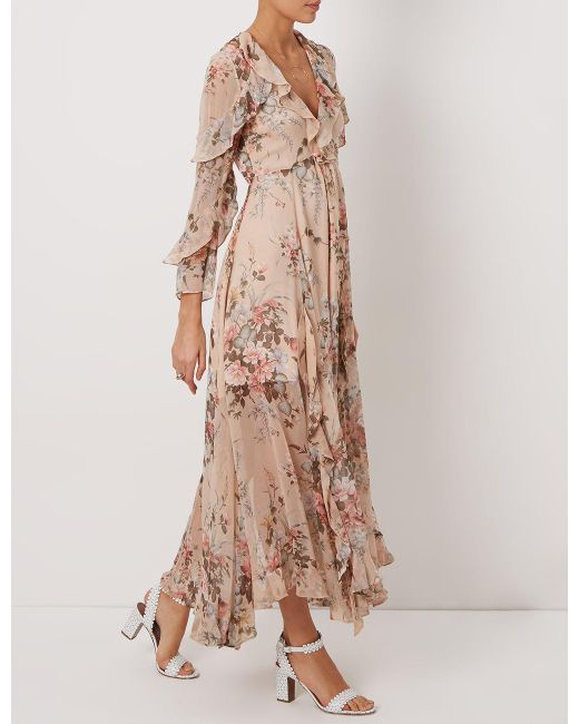 Zimmermann Nude Silk Floral Ruffle Dress In Natural  Lyst-7184
