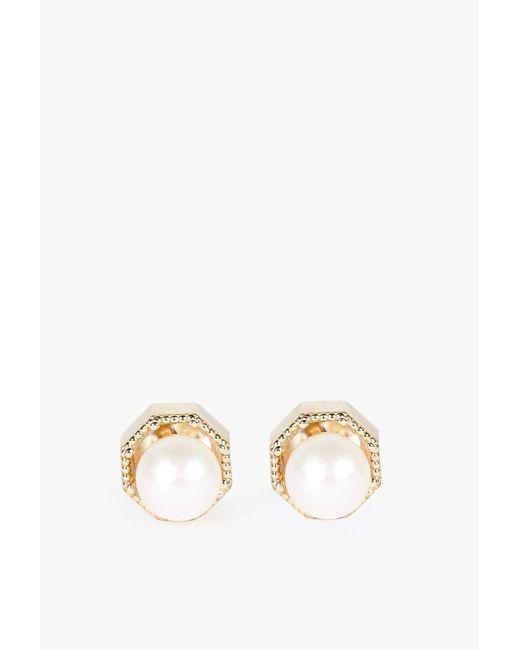 Grace Lee   White Crown Bezel Pearl Earrings   Lyst