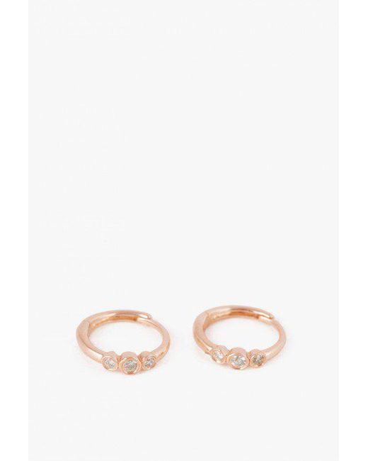 Ariel Gordon | Pink Mini 3 Diamond Huggies Pair | Lyst